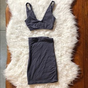 Gray Oh Polly Crop Top & Skirt Set Size 2